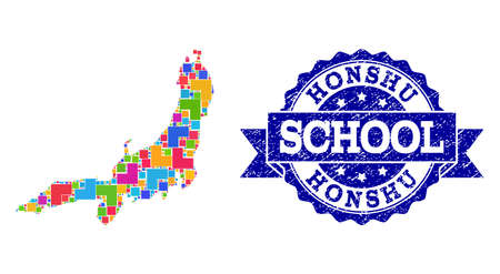 Mosaic puzzle map of Honshu Island and unclean school seal with ribbon. Vector map of Honshu Island constructed with colorful square and corner elements. Vector seal with grunge rubber texture, Illustration