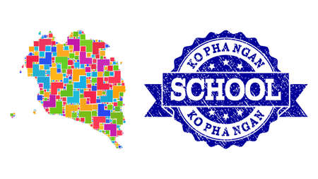 Mosaic puzzle map of Ko Pha Ngan and unclean school stamp with ribbon. Vector map of Ko Pha Ngan designed with colorful square and corner blocks. Vector seal with unclean rubber texture,