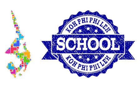 Mosaic puzzle map of Koh Phi Leh and grunge school seal stamp with ribbon. Vector map of Koh Phi Leh designed with colorful square and corner blocks. Vector seal with grunge rubber texture, Ilustracje wektorowe