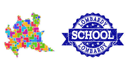 Mosaic puzzle map of Lombardy region and scratched school seal stamp with ribbon. Vector map of Lombardy region constructed with colorful square and corner blocks.