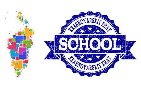 Mosaic puzzle map of Krasnoyarskiy Kray and grunge school seal with ribbon. Vector map of Krasnoyarskiy Kray designed with bright colored square and corner blocks.