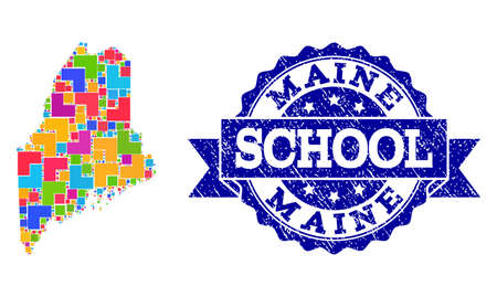 Mosaic puzzle map of Maine State and rubber school seal stamp with ribbon. Vector map of Maine State constructed with colorful square and corner elements. Vector seal with grunge rubber texture,