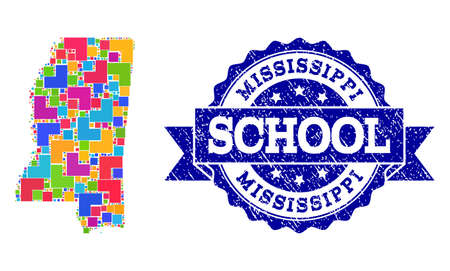 Mosaic puzzle map of Mississippi State and unclean school seal stamp with ribbon. Vector map of Mississippi State designed with colorful square and corner blocks. Ilustração