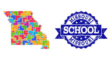 Mosaic puzzle map of Missouri State and dirty school seal with ribbon. Vector map of Missouri State designed with colorful square and corner blocks. Vector seal with unclean rubber texture, Ilustração