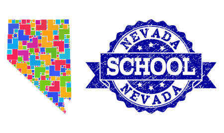 Mosaic puzzle map of Nevada State and rubber school seal with ribbon. Vector map of Nevada State constructed with bright colored square and corner blocks. Vector seal with distress rubber texture, 向量圖像