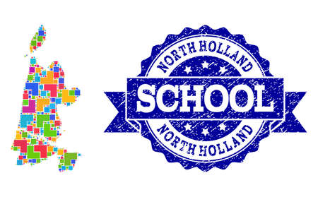 Mosaic puzzle map of North Holland and unclean school seal stamp with ribbon. Vector map of North Holland constructed with bright colored square and corner blocks.