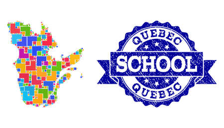 Mosaic puzzle map of Quebec Province and unclean school seal with ribbon. Vector map of Quebec Province designed with colorful square and corner elements. Vector imprint with unclean rubber texture,  イラスト・ベクター素材