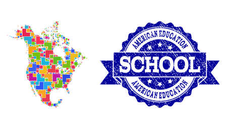 Mosaic puzzle map of North America and scratched school seal stamp with ribbon. Vector map of North America constructed with colorful square and corner blocks.
