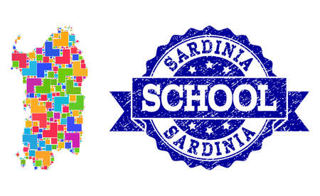 Mosaic puzzle map of Sardinia region and scratched school seal with ribbon. Vector map of Sardinia region designed with bright colored square and corner blocks.