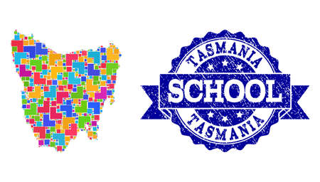 Mosaic puzzle map of Tasmania Island and rubber school seal stamp with ribbon. Vector map of Tasmania Island designed with colorful square and corner blocks.