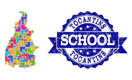 Mosaic puzzle map of Tocantins State and unclean school seal with ribbon. Vector map of Tocantins State designed with bright colored square and corner elements.
