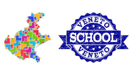 Mosaic puzzle map of Veneto region and corroded school seal with ribbon. Vector map of Veneto region constructed with colorful square and corner elements. Vector seal with corroded rubber texture,