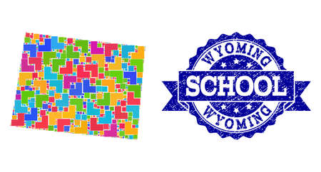 Mosaic puzzle map of Wyoming State and rubber school seal with ribbon. Vector map of Wyoming State constructed with colorful square and corner blocks. Vector seal with scratched rubber texture, 일러스트