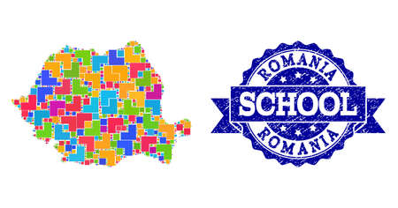 Mosaic puzzle map of Romania and rubber school stamp with ribbon. Vector map of Romania constructed with bright colored square and corner blocks. Vector watermark with scratched rubber texture,