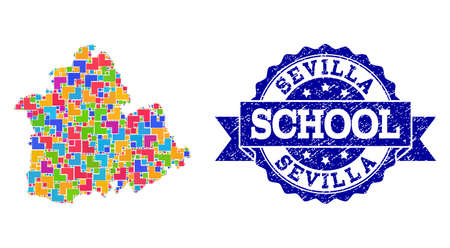 Mosaic puzzle map of Sevilla Province and unclean school seal stamp with ribbon. Vector map of Sevilla Province designed with bright colored square and corner elements.