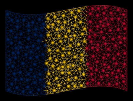 Waving Chad Flag mesh illustration with glow effect. Vector flying official Chad Flag designed with polygonal network, illuminated nodes, round dots.