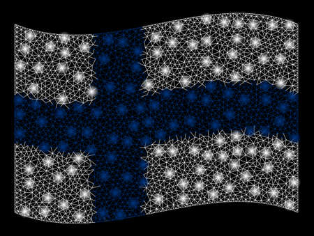 Waving Finland Flag mesh illustration with glow effect. Vector flying official Finland Flag designed with triangular lines, illuminated nodes, small circle.