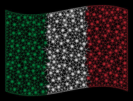 Waving Italy Flag mesh illustration with lightspot effect. Vector flying official Italy Flag designed with polygonal network, illuminated nodes, points.