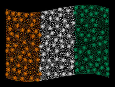 Waving Ivory Coast Flag mesh illustration with glow effect. Vector flying official Ivory Coast Flag designed with polygonal network, illuminated nodes, small circle.