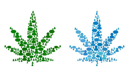 Cannabis mosaics of Message Clouds and People symbols. Vector mosaic in blue color tints. Persons and chat balloons are organized into Cannabis mosaics. Flat design on a white background. Ilustração