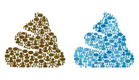Shit mosaics of Chat Clouds and Men symbols. Vector mosaic in blue color variations. Users and chat balloons are organized into Shit mosaics. Flat design on a white background.