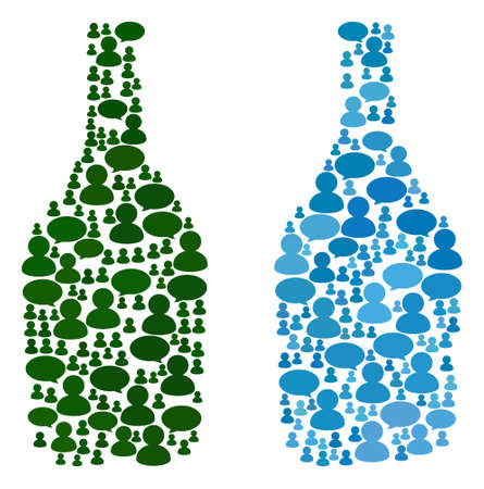 Wine bottle mosaics of Chat Clouds and People symbols. Vector mosaic in blue color tints. Persons and chat balloons are organized into Wine bottle mosaics. Flat design on a white background. Illustration