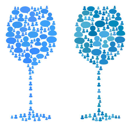 Wine glass mosaics of Chat Clouds and People symbols. Vector mosaic in blue color tinges. Persons and chat balloons are organized into Wine glass mosaics. Flat design on a white background. 일러스트