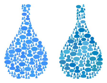Glass jug mosaics of Chat Clouds and Men symbols. Vector mosaic in blue color variations. Persons and chat balloons are organized into Glass jug mosaics. Flat design on a white background. Ilustração