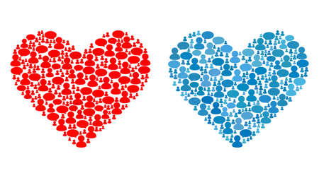 Love heart collages of Chat Clouds and People symbols. Vector mosaic in blue color variations. Users and chat balloons are organized into Love heart mosaics. Flat design on a white background.