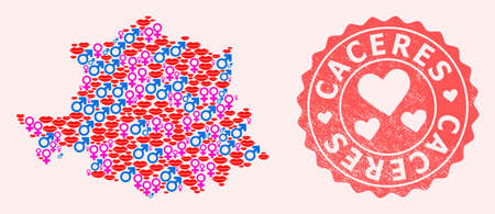 Vector composition of love smile map of Caceres Province and red grunge seal stamp with heart. Map of Caceres Province collage designed with smiles, male and female symbols. Иллюстрация