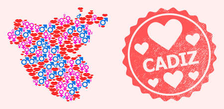 Vector combination of love smile map of Cadiz Province and red grunge seal stamp with heart. Map of Cadiz Province collage designed with smiles, male and female symbols.