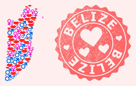 Vector composition of sexy smile map of Belize and red grunge seal stamp with heart. Map of Belize collage composed with smiles, male and female symbols.