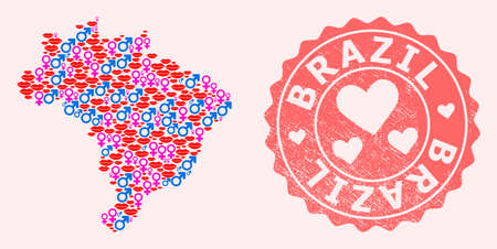 Vector collage of love smile map of Brazil and red grunge stamp with heart. Map of Brazil collage composed with smiles, male and female symbols.