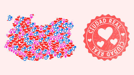 Vector combination of love smile map of Ciudad Real Province and red grunge stamp with heart. Map of Ciudad Real Province collage designed with smiles, male and female symbols.