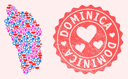 Vector collage of love smile map of Dominica Island and red grunge seal stamp with heart. Map of Dominica Island collage created with smiles, male and female symbols.