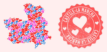 Vector collage of sexy smile map of Castile-La Mancha Province and red grunge seal with heart. Map of Castile-La Mancha Province collage designed with smiles, male and female symbols.