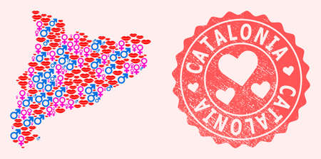 Vector combination of love smile map of Catalonia and red grunge seal stamp with heart. Map of Catalonia collage designed with smiles, male and female symbols. Иллюстрация
