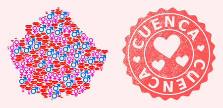 Vector composition of love smile map of Cuenca Province and red grunge seal stamp with heart. Map of Cuenca Province collage designed with smiles, male and female symbols.