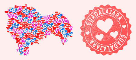 Vector collage of love smile map of Guadalajara Province and red grunge stamp with heart. Map of Guadalajara Province collage composed with smiles, male and female symbols.