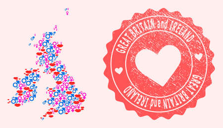 Vector collage of love smile map of Great Britain and Ireland and red grunge seal with heart. Map of Great Britain and Ireland collage designed with smiles, male and female symbols.