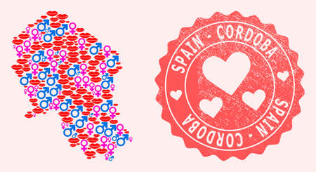 Vector collage of sexy smile map of Cordoba Spanish Province and red grunge stamp with heart. Map of Cordoba Spanish Province collage formed with smiles, male and female symbols.