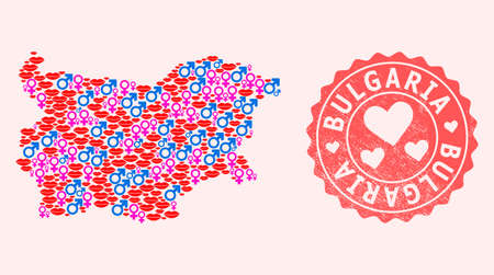 Vector collage of love smile map of Bulgaria and red grunge seal stamp with heart. Map of Bulgaria collage composed with smiles, male and female symbols.