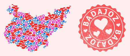 Vector collage of love smile map of Badajoz Province and red grunge seal stamp with heart. Map of Badajoz Province collage created with smiles, male and female symbols.