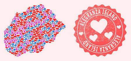Vector composition of love smile map of Alegranza Island and red grunge seal stamp with heart. Map of Alegranza Island collage created with smiles, male and female symbols. 向量圖像