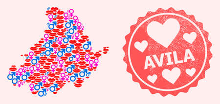Vector collage of love smile map of Avila Province and red grunge seal with heart. Map of Avila Province collage composed with smiles, male and female symbols.