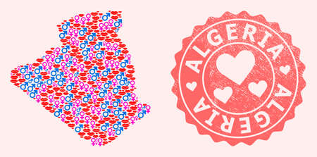 Vector combination of love smile map of Algeria and red grunge seal stamp with heart. Map of Algeria collage created with smiles, male and female symbols.