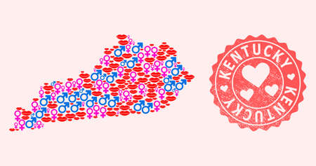 Vector collage of smile map of Kentucky State and red grunge seal stamp with heart. Map of Kentucky State collage created with smiles, male and female symbols.