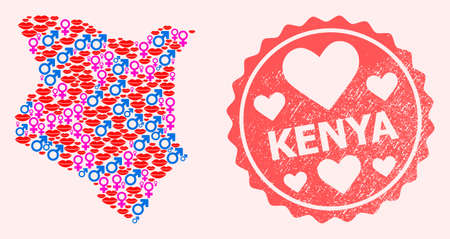 Vector combination of love smile map of Kenya and red grunge seal stamp with heart. Map of Kenya collage designed with smiles, male and female symbols.