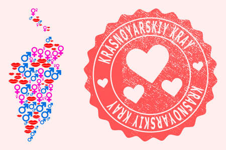 Vector collage of sexy smile map of Krasnoyarskiy Kray and red grunge stamp with heart. Map of Krasnoyarskiy Kray collage formed with smiles, male and female symbols.