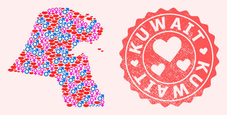 Vector collage of love smile map of Kuwait and red grunge stamp with heart. Map of Kuwait collage designed with smiles, male and female symbols.